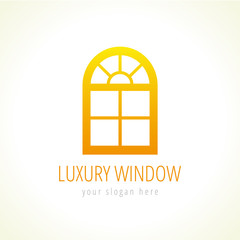 Arc windows vector logo. Abstract template, gold colored sign of constructing architectural company in a shape arch decorative window. Buy or update luxurious windows or doors in traditional style.