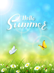 Blue nature background with lettering Hello Summer