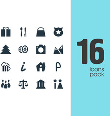 Vector Illustration Of 16 Map Icons. Editable Pack Of Car Park, University, Home And Other Elements.