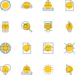 Vector Illustration Of 16 Network Icons. Editable Pack Of Bug, Data Upload, Waiting And Other Elements.