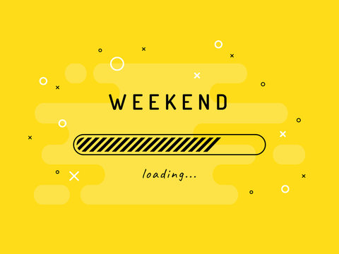 Weekend loading - vector illustration. Yellow background.