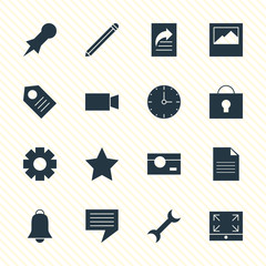 Vector Illustration Of 16 Web Icons. Editable Pack Of Bookmark, Gear, Maximize And Other Elements.