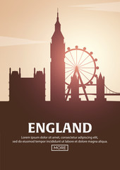 Travel poster to England. Landmarks silhouettes. Vector illustration.