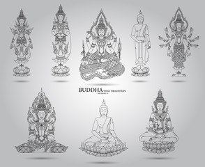 buddha set thai tradition style,vector