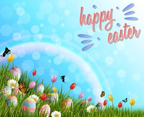 Happy easter with eggs and tulip flowers on grass background
