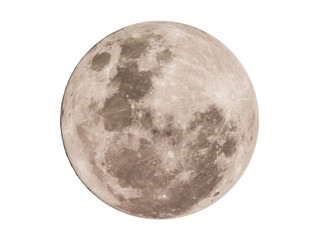 Super full moon on white background