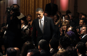 U.S. President Barack Obama arrives to host a tribute to Motown at the White House in Washington