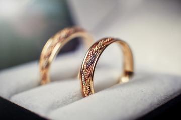 Wedding rings in the casket