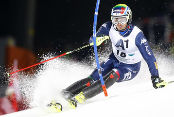 Moelgg of Italy skis during the men's Alpine Skiing World Cup slalom in Schladming