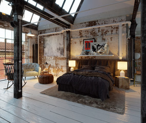 Bed in old industrial vintage Loft apartment