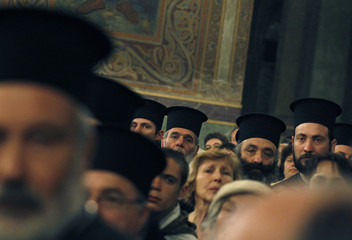 Bulgarian Eastern Orthodox priests and worshippers attend the Sunday mass led by Patriarch of Moscow and All Russia Kirill and Bulgarian Patriarch Maxim in Sofia