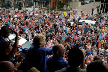U.S. Democratic presidential nominee Hillary Clinton greets the vast crowd outside a campaign rally in Wilton Manors