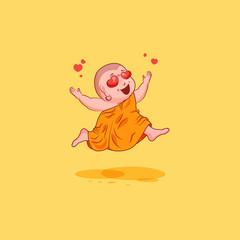 Sticker emoji emoticon emotion vector isolated illustration unhappy character cartoon Buddha in love
