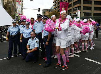 Australian police pose for a picture alongside a group of male performers in pink sailor outfits at the 2014 Sydney Gay and Lesbian Mardi Gras parade