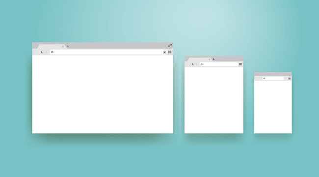 Open Internet browser window in a flat style. Design a simple blank web page. Template Browser window on your PC, tablet and mobile phone. Vector illustration. Isolated on a turquoise background