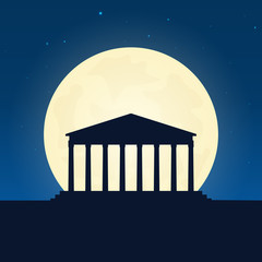 Greece silhouette of attraction. Travel banner with moon on the night background. Trip to country. Travelling illustration.