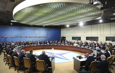 Rasmussen chairs a NATO foreign ministers meeting at the Alliance headquarters in Brussels