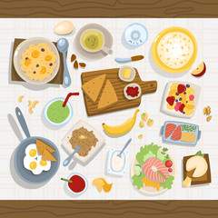 Healthy eating meal concept with fresh salad bowls on kitchen wooden worktop top view vector illustration
