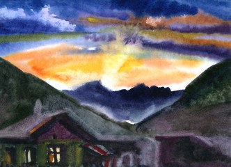 View from the hill in sunset. Watercolor painted landscape in natural colors.
