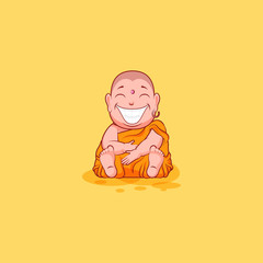 Sticker emoji emoticon emotion vector isolated illustration unhappy character cartoon huge smile Buddha