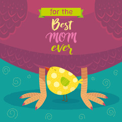 Vector illustration of Mom's Day Chicken and chick caring and love