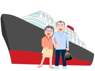 シニア夫婦の客船での旅行