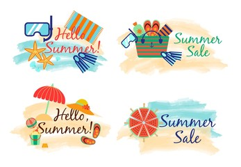 Summer sale labels with sand and sea in watercolor style