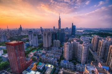 Skyline of Urban Nanjing City at Sunset