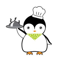 chef penguin cartoon vector