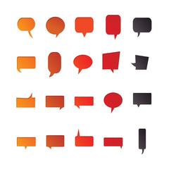 Vector of various color chat symbols