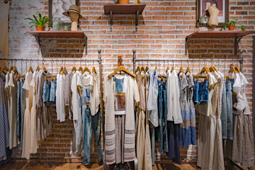 Indoor shopping, fashion women's clothes