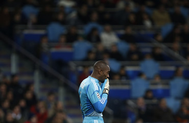 Ajax Amsterdam's goalkeeper Kenneth Vermeer reacts during their Champions League Group D soccer match against Real Madrid at the Santiago Bernabeu stadium in Madrid