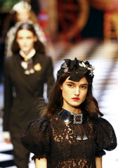 A model presents a creation from the Dolce & Gabbana Autumn/Winter 2016 woman collection during Milan Fashion Week