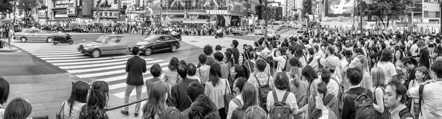 TOKYO - JUNE 1, 2016: Panoramic view of Shibuya Crossing with people at sunset. Shibuya is a popular district of Tokyo Fotomurales