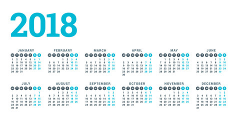 Calendar for 2018 Year on White Background. Week Starts Monday. 6 columns, 2 rows. Simple Vector Template. Stationery Design Template