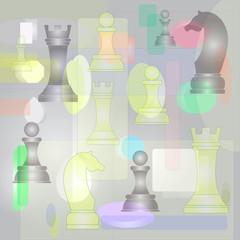Фон абстрактный с шахматными фигурами