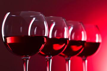 Glasses of pink wine