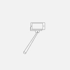 Selfie monopod stick symbol with smartphone