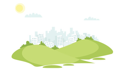 grass field vector landscape with buildings in the background