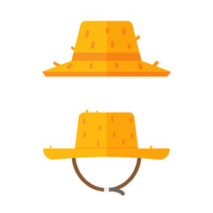 Gardener straw hat icons. Farmer cap vector illustration in flat design. Summer sunhat isolated on white background.