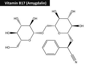 Molecular structure of Amygdalin (vitamin B17)