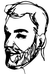 vector sketch of a man with a beard smiling