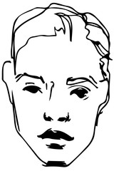 vector sketch of a young blond guy