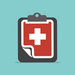Medical clipboard icon with shadow. Flat design