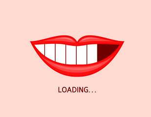 Loading icon on mouth shape. Smiling with whitening teeth. Dental care concept. Vector illustration isolated on black blackground.