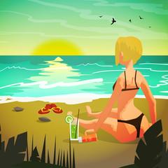 Sea landscape summer beach, a private beach at sunset. Woman in