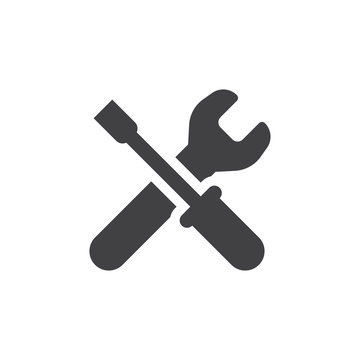 Wrench icon in black on a white background. Vector illustration