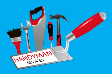 handyman services. Trowel, saw, hammer, wrench, screwdriver and brush on a blue background.. Vector