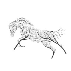 Concept horse jumping stylized bush for use  on cards, in printing, posters, invitations, web design and other purposes.