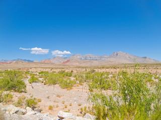 hills in distance under slear blue sky surrounding Red Rock Desert .